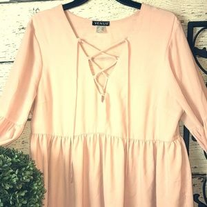 Light Pink Bell Slv Blouse with Tie Up Accent Sz L